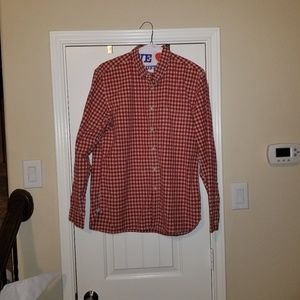 J. Crew Sprt Shirt Red and Tan - Large 16-16.5